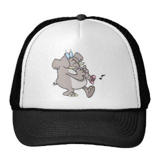 silly trumpet horn elephant tooting trunk mesh hats