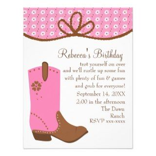 Daisy and Lasso Cowgirl Boot Personalized Invitation