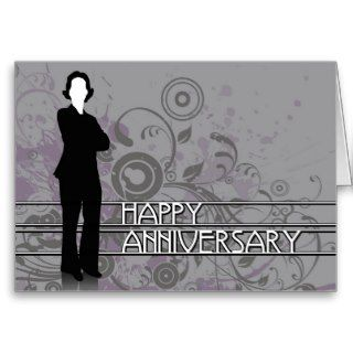 happy anniversary : business silhouette greeting card