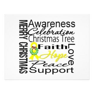 Merry Christmas Bladder Cancer Ribbon Collage Personalized Flyer