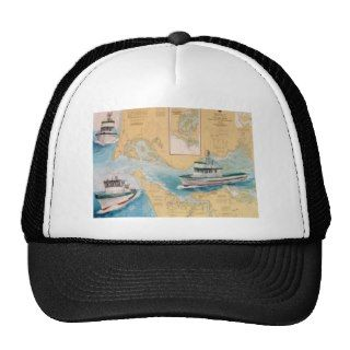 Deep Sea Charter Fishing Boats Astoria Oregon Art Trucker Hats