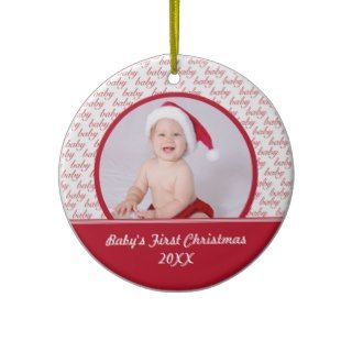 Red & White Babys First Christmas Photo Ornament