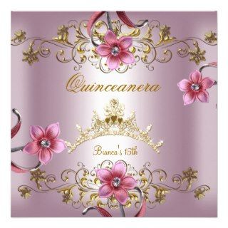 Quinceanera 15th Pink Flowers Gold Tiara Announcements