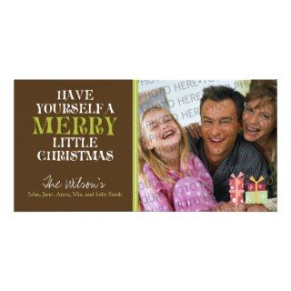 Merry Little Christmas Holiday PhotoCard (brown) Picture Card