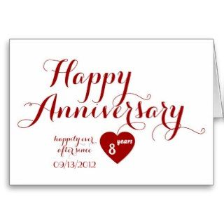 Red Calligraphy Custom Date Happy Anniversary Card