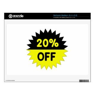 Black and Yellow 20 Percent Off Netbook Skins