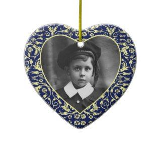 Heart Shaped Photo Frame Floral Christmas Ornament