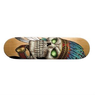 Native American Indian Tribal Gothic Skull Skateboard Decks