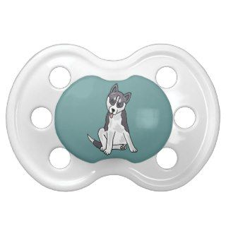 XX  Grey and White Siberian Husky Dog Baby Pacifier