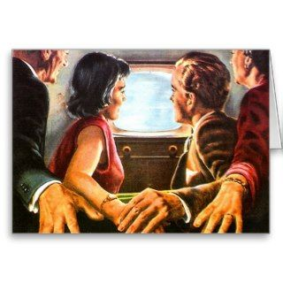 Retro Vintage Kitsch TV Televison Holding Hands Greeting Card