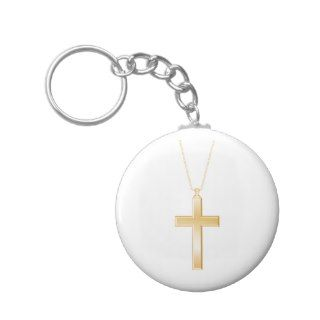Gold cross and chain, looks like real jewelry. key chains