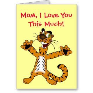 Love You This Much Cute Cartoon Tiger Mothers Day Greeting Cards