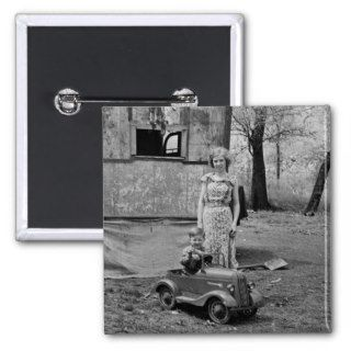 Vintage Pedal Car in the Great Depression, 1930s Pinback Buttons