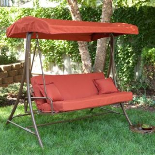Siesta 3 Person Canopy Swing Bed   Terra Cotta   Porch Swings at