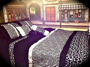 Cheetah Zebra Giraffe Animal Print Black White Queen Bed and Curtain Set 11piece