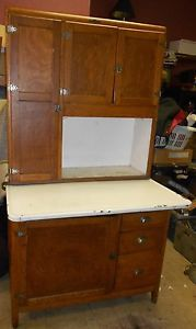 Authentic Antique Hoosier Cabinet Oak Napanee Dutch Kitchen 2pc Porcelain Top