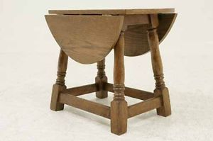 Antique Scottish Petite Oak Drop Leaf Gateleg End Tea Table