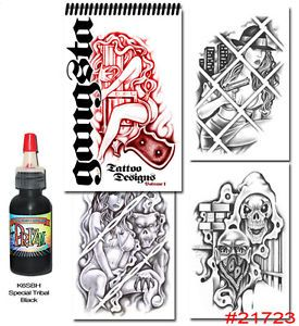 Tattoo Supplies Flash Book Gangster Art Prison Style Free Tribal Black Ink