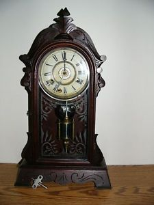 Antique New Haven 8 Day Double Striking Mantel Clock with Alarm Pendulum Key