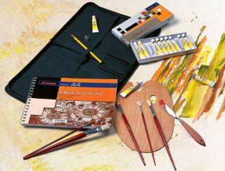 Acrylic Painting Art Artist Portfolio Kit Set Paints Brushes Palette Knife New