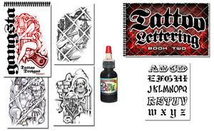 Tattoo Supplies 2 Book Gangster Art Prison Style Lettering Script Free Black Ink