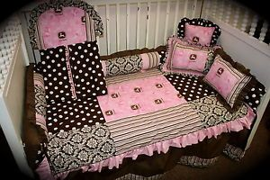 John Deere Damask Pink Baby Bedding Set