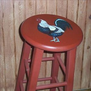 Magnificent Rooster Chicken Wood Bar Stool Hand Painted Custom Made Stools Lamtechconsult Wood Chair Design Ideas Lamtechconsultcom