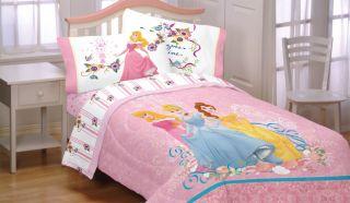 4pc Disney Princess Dreams Full Bed Sheet Set Cinderella Aurora Bedding Sheets