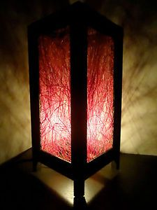 Asian Oriental Red Natural Fiber Bedside Floor or Table Lamp Lighting Shades