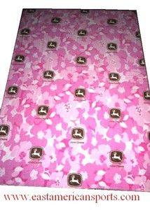 John Deere 50 x 70 Pink Fleece Throw Blanket Rose Camo Bedding Girls Camouflage