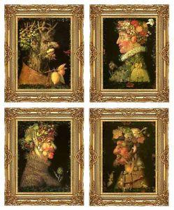4 Framed Winter Spring Summer Autumn by Giuseppe Arcimboldo Canvas Art Set Repro