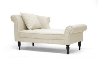 Beige Linen Modern Victorian Lounge Chaise Sofa Regal Scrollback Contemporary