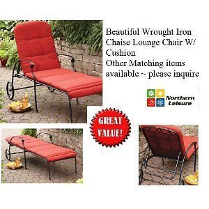 Outdoor Wrought Iron Chaise Lounge Chair w Cushion Wheels Adjustable Positions