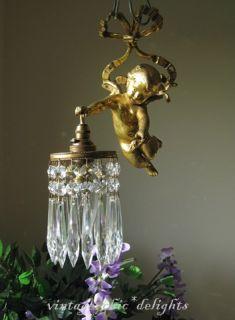 Adorable French Antique c1910 Gilt Bronze Crystal Cherub Chandelier Wall Light