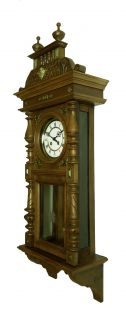 Beautiful Antique German Wall Clock with Music 2 Different Melodies at 1900