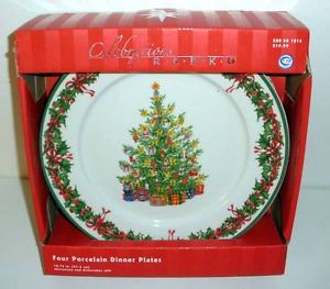 Set of 4 Christopher Radko Celebrations Porcelain Christmas Dinner Plates NIB