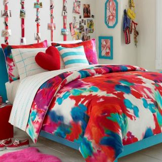 Teen Vogue Poppy Art Twin Comforter Red Blue Purple