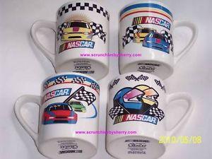 4 2002 NASCAR Racing Cars Flags Coffee Mugs Gibson Mug