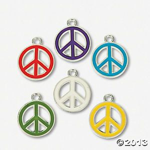 18 Enamel Peace Sign Symbol Charms Retro Hippie Jewelry Making Craft Supplies