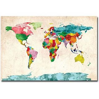 Trademark global michael tompsett sheet music world map canvas art trademark global michael tompsett watercolor world map canvas art 16 x 24 gumiabroncs Gallery