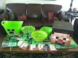 Minecraft Birthday Party Supplies Kit Set Banner Steve Bowls Mine Craft Video