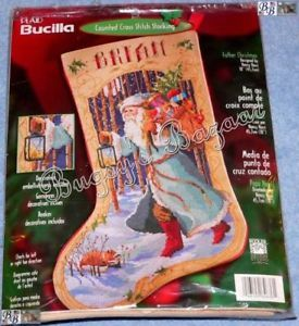 Bucilla Father Christmas Counted Cross Stitch Stocking Kit L R Chart N Rossi