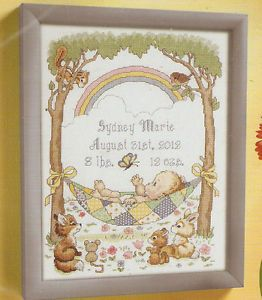 """New Bucilla """"Our Little Blessing"""" Baby Birth Record Counted Cross Stitch Kit"""