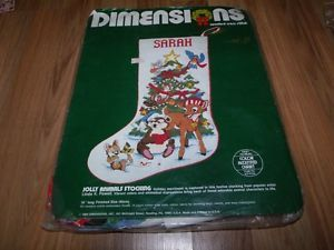 Dimensions Jolly Animals Cross Stitch Stocking Kit Started