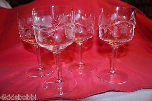 Set 4 Antique Elegant Cut Crystal Stemware Glasses Etched Vine Design Wine Set