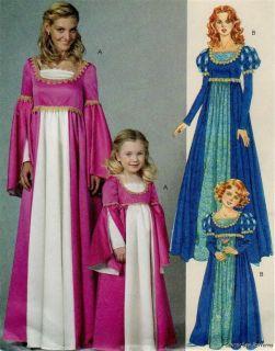 McCalls 6141 Uncut Pattern 3 8 Girls Medieval Renaissance Princess Costume Dress