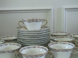 Set of 12 Antique Haviland Limoges 2 Handle Tea Cups Bouillon Cups and Saucers