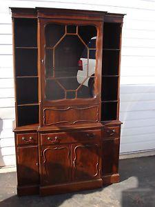 Antique Mahogany Glass China Cabinet Curio Display Shelf Case Drop Front Desk