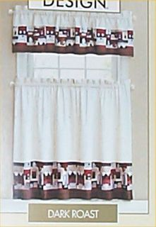 Kitchen Curtains Coffee Cafe Bistro Tier Valance French Country 2 Tier Panels