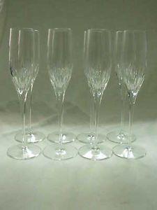 "8 Vintage Fostoria Glass ""Baroness"" 10"" Crystal Champagne Flutes Glasses"